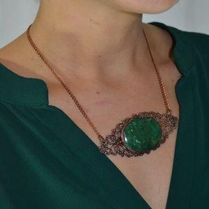 TVD Green Aventurine Copper Electroform Necklace